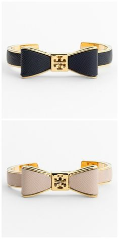 Bows are so pretty. Love these Tory Burch bow leather cuffs. lindas con un mini vestido como para ir al cine