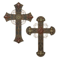 DecMode Assorted Wall Crosses - Set of 2 - 56543