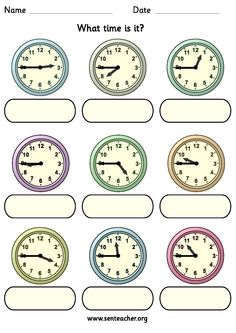 Worksheet containing 9 analogue clocks showing quarter to times with space to write in the answer in either analogue or digital time.
