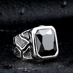 Vintage Cool Retro Stainless Steel Rings Gothic Crackle Blue/Black Stone Jewerly For Man Gothic Wedding Rings, Wedding Band Sets, Types Of Rings, Steel Material, Stainless Steel Rings, Jewerly, Jewelry Rings, Rings For Men, Engagement Rings