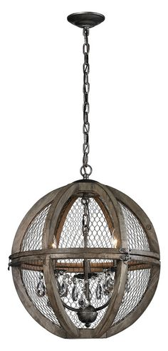 Small Renaissance Invention Wood And Wire Chandelier Possess Color Aged Wood, Bronze, Clear Crystal. Have Category Chandeliers. Be faced with Materials Wood,Wire. Wire Chandelier, 3 Light Chandelier, Chandeliers, Elk Lighting, Home Lighting, Aging Wood, Family Room Decorating, Grey Glass, Venetian Glass