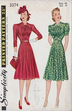 1940s Misses Tailored Dress