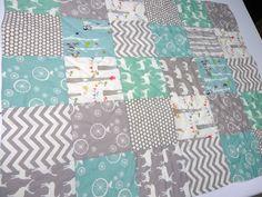Modern-Baby Quilt- Chevron-Grey-Aqua-Woodland Animal-Elephant-Deer-Baby Blanket