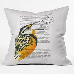 Coco De Paris Singing Bird Throw Pillow | Wayfair
