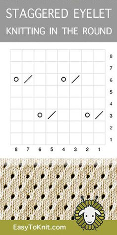 Staggered Eyelet in the round - lochmuster sitricken Lace Knitting Stitches, Lace Knitting Patterns, Knitting Blogs, Knitting Charts, Knitting For Beginners, Knitting Socks, Baby Knitting, Stitch Patterns, Knitting Machine