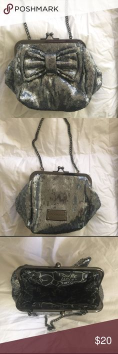 BETSEY JOHNSON CLUTCH NWOT Gun metal grey sequin clutch. You can use it with or without the chain strap. Never used. Betsey Johnson Bags Clutches & Wristlets