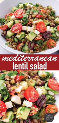 Easy and delicious Mediterranean Lentil Salad! This lentil salad is packed with fresh and healthy ingredients Chicken Pasta Salad Recipes, Lentil Salad Recipes, Creamy Pasta Salads, Taco Salad Recipes, Easy Salads, Healthy Salad Recipes, Coleslaw Recipes, Tortellini Salad, Tuna Pasta