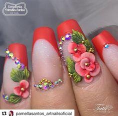 Nail Art Flowers The Acrylic Nail Process Pink Acrylic Nails, 3d Nails, Pink Nails, Cute Nails, 3d Nail Designs, Flower Nail Designs, Acrylic Nail Designs, 3d Flower Nails, Funky Nail Art