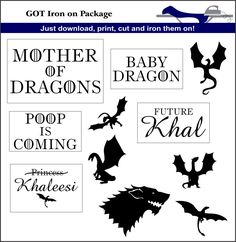 Game of Thrones Inspired Iron On Transfers par IronItOnWithLove