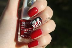 The red nail polish is Isadora Femme Fatale, the white is Illamasqua Scorch and the black-to-face, autograph and white RED is made with acrylic paint.