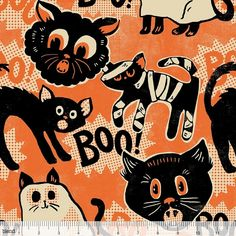 Spooktacular Eve 101.107.06.1 Orange Scaredy Cat by Maude Asbury for Blend