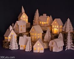 Tea Light Village expanded for , Marji Roy, cutting files in .dxf, and .pdf formats for use with Silhouette and Cricut cutting machines lightcrafts Noel Christmas, Christmas Paper, Christmas Projects, All Things Christmas, Holiday Crafts, Holiday Decor, Xmas, Christmas Mantles, Victorian Christmas