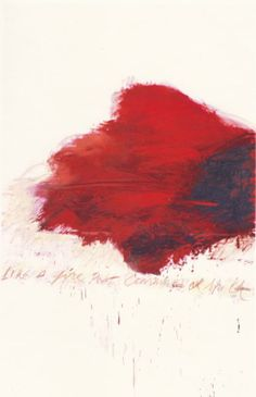 Cy Twombly, Fifty Days at Iliam: The Fire that Consumes All Before It, 1978, Oil, oil crayon, and graphite on canvas  118 1/8 x 75 5/8 inches (300 x 192 cm).