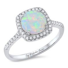 A Perfect Round Cut Australian White Opal Engagement Ring