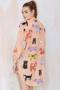 Lazy Oaf Dog Walk Oversized Blouse - Shirts + Blouses