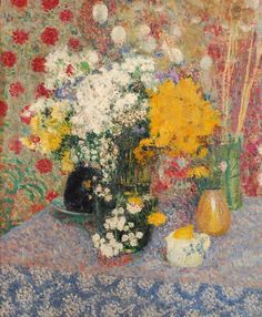 georges lemmen | Georges Lemmen (Belgium): Vases de fleurs sur une table (1905). Oil on ...