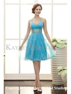 Organza V-Neckline Knee Length A-line Cocktail Dress with Ruffle and Sequins