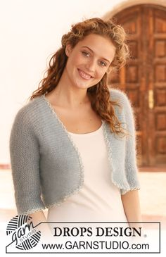 """DROPS bolero in garter st in 2 threads """"Kid-Silk"""", knitted in one piece. Free pattern by DROPS Design. Knit Shrug, Knitted Shawls, Lace Shawls, Knit Cowl, Knitting Patterns Free, Free Knitting, Free Pattern, Finger Knitting, Scarf Patterns"""
