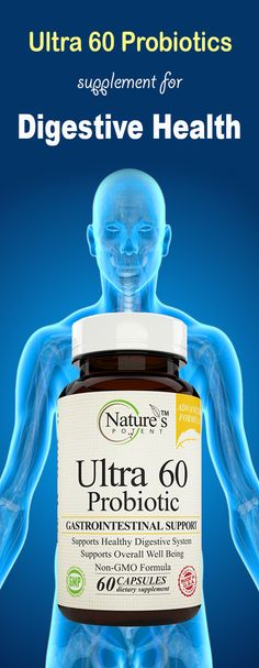 Ultra 60 Probiotics from Nature's Potent help repair the damage dealt to the natural flora of the gut by Stress, Medications (especially antibiotics), GMO foods Contaminants from the tap water and Sugar.