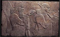 Assyrian relief.  Alabastrine limestone, 883-859 B.C.E., Reign of King Ashurnasirpal II  H. 110.5 cm.; W. 183 cm.  Miho Museum, Kyoto.