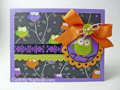 """H-owl-oween"" card with an owl theme using the Haunted Manor Halloween paper from Doodlebug Design - via CardsByStephanie.com"