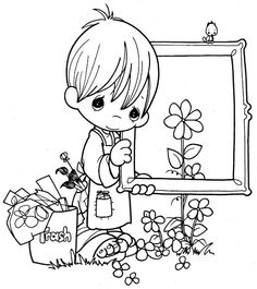 Painter's Day coloring  #printable #pictures #cute