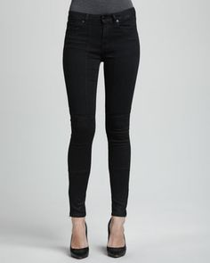 Sturgis Lustered Quilted-Knee Skinny Jeans by D-ID Denim at Neiman Marcus.