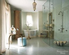 Bathroom Gallery - ELLE DECOR - love how this still looks traditional with a modern addition of a shower.