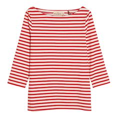 Joules Harbour Jersey Top for Women in White and Red Stripe Apple Dress, Boat Neck Tops, Red And White Stripes, Jersey Shirt, Long Tops, Fashion Kids, Fashion Company, Kid Shoes, Kids Wear