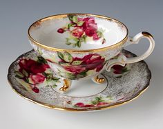 Royal Halsey Very Fine Tea Cup and Saucer, Teacup Set, Heavy Gilt, Three Feet, Deep Red Roses, Shabby Chic Tea Party by TeacupsAndOldLace on Etsy https://www.etsy.com/listing/209440508/royal-halsey-very-fine-tea-cup-and