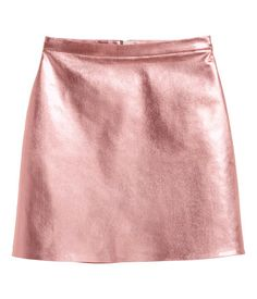 Pink metallic. Short A-line skirt in coated stretch twill with a concealed zip at back.