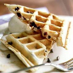 Serve chocolate chip waffles for a super-indulgent breakfast perfect for holiday celebrations, from Mother's Day to Christmas morning. These chocolate chip waffles are even better topped with vanilla ice cream and chocolate minichips.