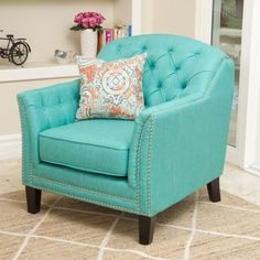 Cozy up with a good book in the Christopher Knight Home Coatbridge club chair. Tufted details accent the contemporary wingback design, and the fabric upholstery adds a soft, neutral look that blends with your decor. Teal Accent Chair, Accent Chairs, My Living Room, Living Room Chairs, Nursery Chairs, Living Area, Dining Room, Fabric Armchairs, Ottomans