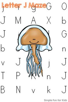 Literacy Printables for Kids: Learning letters with letter J mazes! Letter J Activities, Quiet Time Activities, Creative Activities For Kids, Animal Activities, Kids Learning Activities, Infant Activities, Teaching Ideas, Teaching Letters, Preschool Letters