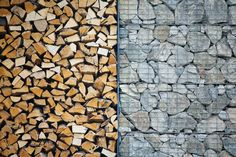 Gabion wall and logs storage