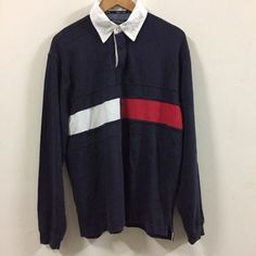 90S VTG TOMMY HILFIGER ATHLETIC GEAR STRIPED RUGBY SHIRT BLUE Navy Sz. S  | eBay