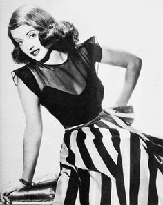Bette Davis looking fabulous in an outfit of sheer + stripes. #vintage #actresses #fashion