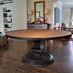 Rustic Elements Furniture custom builds round tables, available in your choice of wood, style, and distress. 60 Inch Round Table, Round Tables, Dining Tables, Custom Furniture, Home Kitchens, Rustic, Pedestal, Wood, Anchor