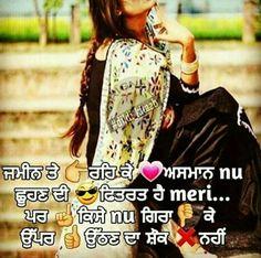 @manidrehar❤ Punjabi Attitude Quotes, Punjabi Love Quotes, Happy Quotes, Me Quotes, Qoutes, Punjabi Captions, Laughing Colors, Beautiful Lines, Queen Quotes