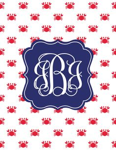 Free Crab Printable Monogram Maker from printablemonogram.com #freeprintable