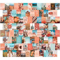 100 PRINTED 4x6 Peach and Teal Aesthetic Wall Collage Kit 4x6, VSCO Orange Photo Collage, Peachy Boho Wall Art Set, Desert theme girls decor