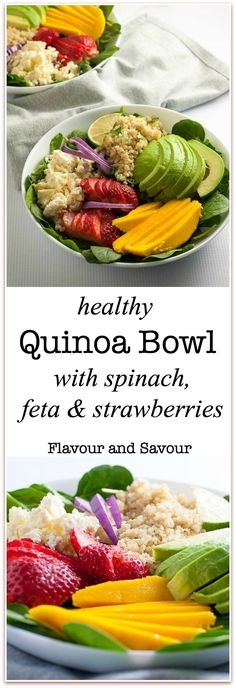 Healthy Quinoa Bowl with Spinach, Feta and Strawberries. A nutritious, colourful meal-in-a-bowl drizzled with a slightly sweet Poppy Seed Dressing. Sliced mango and avocado add colour and texture. |www.flavourandsavour.com