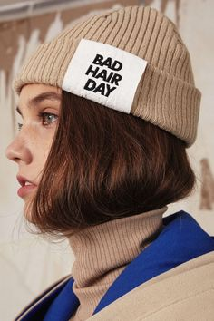 [Ronan wearing this over her shaved head] Bad hair day beanie by ADER Error Bad Hair Day Beanie, Fashion Models, Fashion Outfits, Fashion Trends, Gintama, Poses References, Fashion Details, Fashion Design, Looks Black