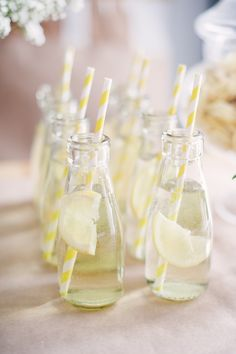 Individual lemonades with striped straws