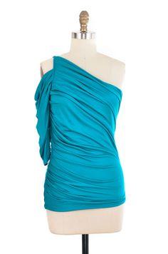 Halston Heritage Blue Cold Shoulder Top Size 8   ClosetDash #top #style #fashion