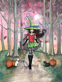 Halloween witch - fantasy art by Molly Harrison - Walking the Cats Halloween Poster, Halloween Painting, Halloween Pictures, Halloween Cat, Halloween Halloween, Witch Painting, Halloween Clothes, Fantasy Kunst, Fantasy Art