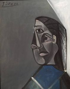 Pablo Picasso, 'Portrait of Dora Maar', 1942 Pablo Picasso, Art Picasso, Picasso Blue, Picasso Paintings, Great Paintings, Dora Maar, Frank Auerbach, Rembrandt, Cubist Movement