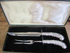 Vintage Carving Set. Cutlery Chase Sheffield Stainless Art Nouveau. Carving Knife and Fork. by ontherebound on Etsy