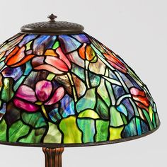 Stained Glass Lamps, Leaded Glass, Tulip Table, Louis Comfort Tiffany, Tiffany Glass, Tulips Flowers, Deep Blue, Glass Shades, Bright Colors