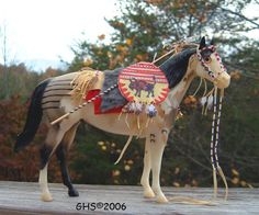 LSQ Museum Quality Native American Indian fully beaded 1:9 scale model horse tack made by Cindy Walker
